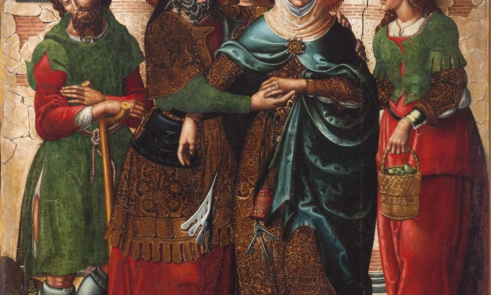 Abrazo en la puerta dorada. Maestro de Sigena. Óleo sobre tabla. 1515-1519. NIG.00001. © Foto Fernando Alvira. Museo de Huesca.