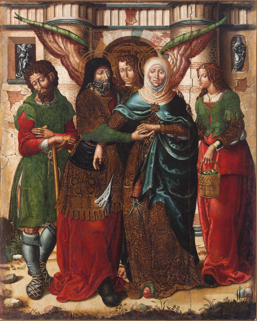 Abrazo en la puerta dorada. Rodrigo de Sajonia (antes Maestro de Sijena). Óleo sobre tabla. 1515-1519. NIG.00001. © Foto Fernando Alvira. Museo de Huesca.