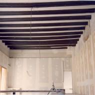 Detalle de la zona de oficinas durante las obras de rehabilitación. © Archivo fotográfico Museo de Huesca.