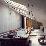 Detalle de la zona de bajo cubierta durante las obras de rehabilitación. © Archivo fotográfico Museo de Huesca.
