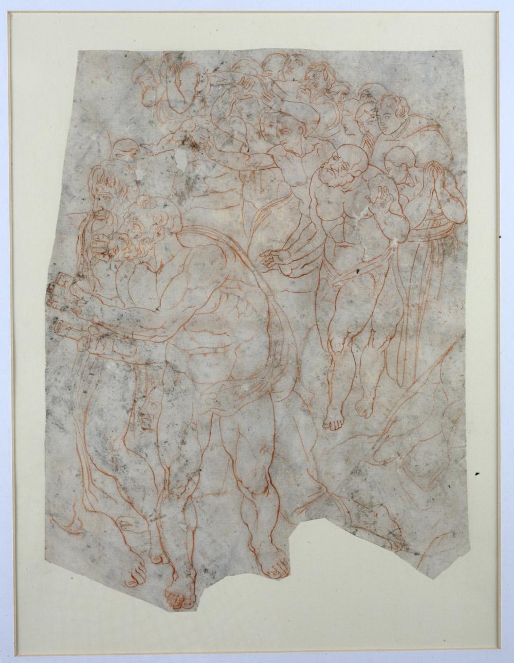 Fragmento del juicio final. Pietro Marone. Sanguina sobre papel. 1555. NIG. 01963. © Foto Fernando Alvira. Museo de Huesca.