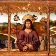 Predela: Santa Catalina, la Virgen, Cristo piedad, San Juan, Santa Lucía. Bartolomé Bermejo. Óleo sobre tabla. 1475-1490. NIG. 00017. © Foto Fernando Alvira. Museo de Huesca.