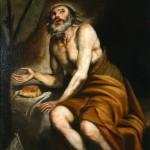 Santo penitente en el desierto. Anónimo. Óleo sobre lienzo. 1650-1699. NIG. 00083. © Foto Fernando Alvira. Museo de Huesca.
