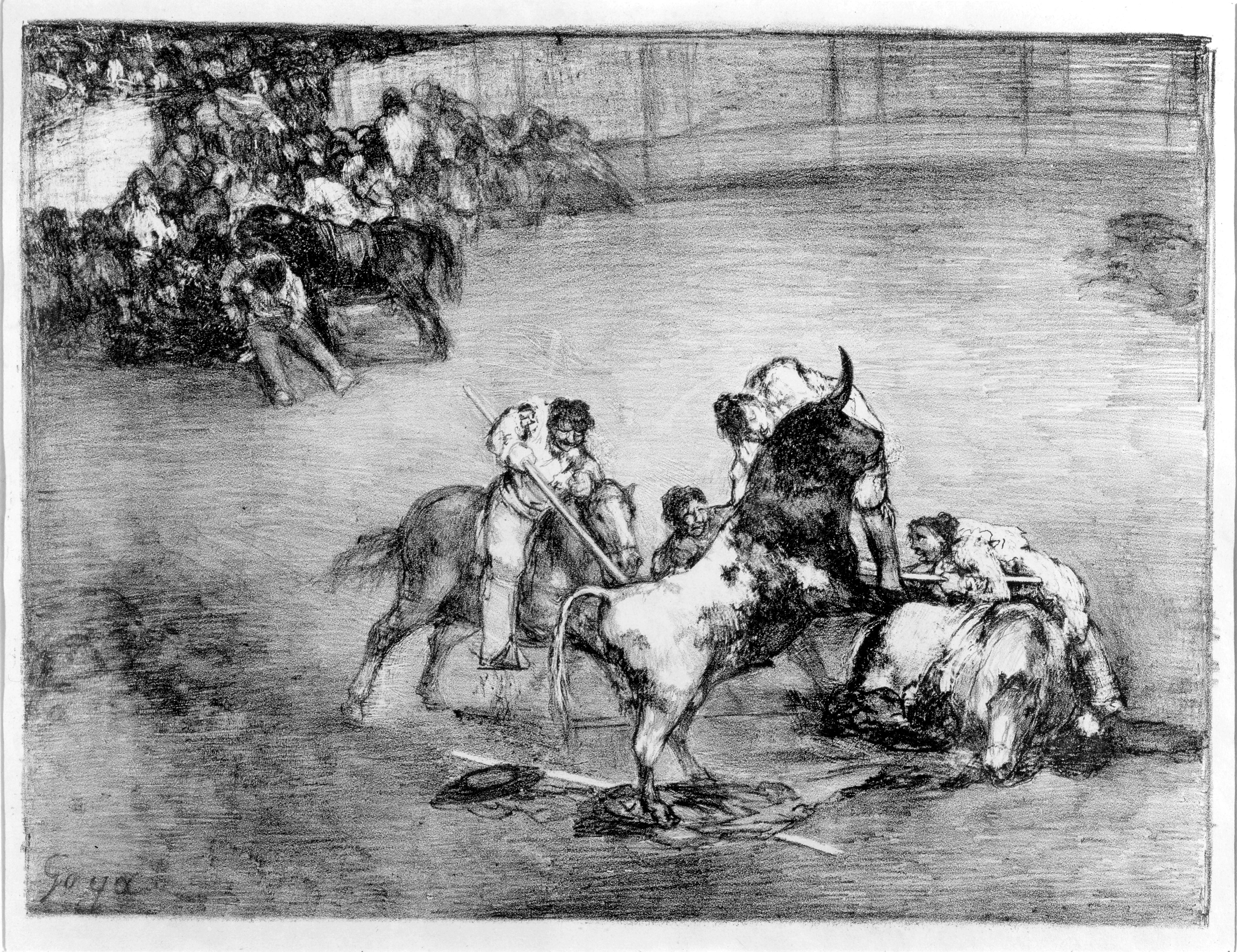 Bravo toro. Francisco de Goya y Lucientes. Litografía. 1825. NIG. 01091. © Foto Fernando Alvira. Museo de Huesca.