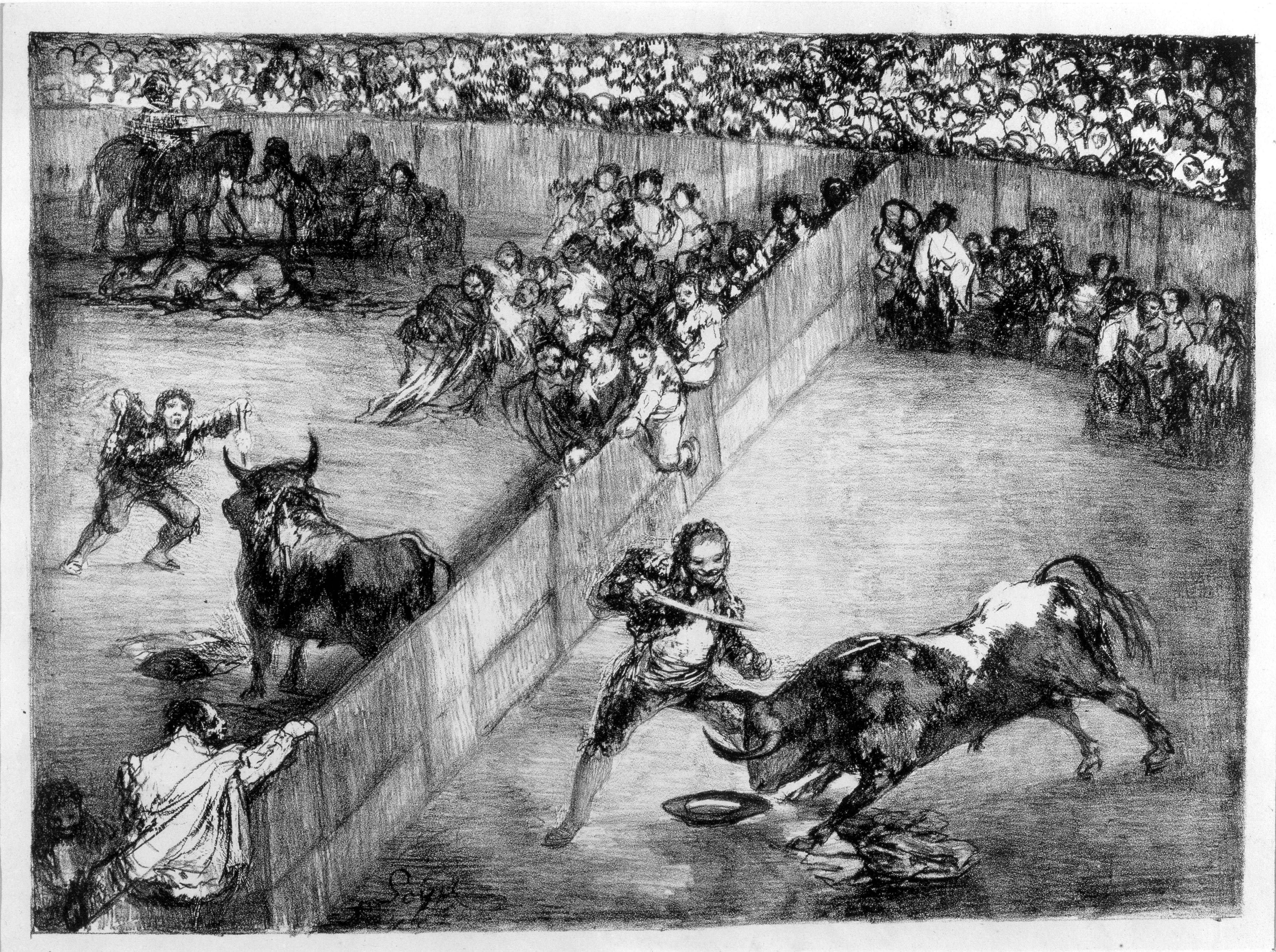 Plaza partida. Francisco de Goya y Lucientes. Litografía. 1825. NIG. 01092. © Foto Fernando Alvira. Museo de Huesca.