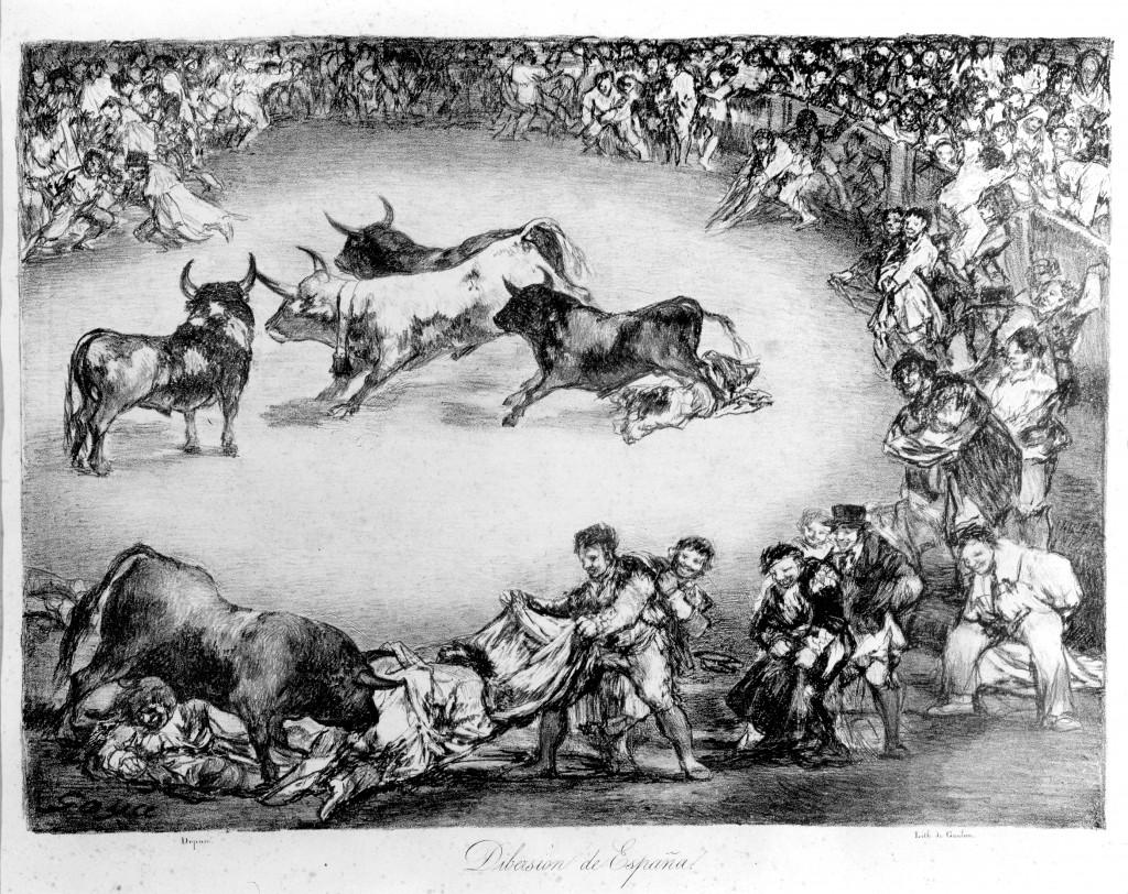 """""""Dibersion de España"""". Francisco de Goya y Lucientes. Litografía. 1825. NIG. 01093. © Foto Fernando Alvira. Museo de Huesca."""