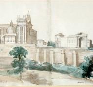 Vista de Roma. Valentín Carderera y Solano. Acuarela sobre papel.1824-1830. NIG. 01965. © Foto Fernando Alvira. Museo de Huesca.