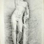 Apollino. Valentín Carderera. Carboncillo sobre papel. 1822-1831. NIG. 01970. © Foto Fernando Alvira. Museo de Huesca.