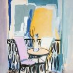 Velador con florero y sillas ante un balcón. Ramón Acín. Gouache sobre papel. Hacia 1932-1935. NIG. 04309. © Foto Fernando Alvira. Museo de Huesca.