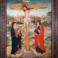 El Calvario. Círculo de Pedro García de Benabarre. Temple sobre tabla. Ca. 1475 - 1490. NIG. 10957. © Foto Fernando Alvira. Museo de Huesca.