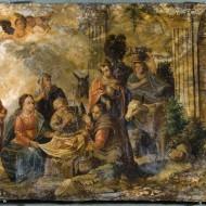 Adoración de los pastores. Anónimo. Óleo sobre mármol. 1600-1700. NIG. 07919. © Foto Fernando Alvira. Museo de Huesca.