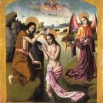 El Bautismo de Jesús. Anónimo. Óleo sobre tabla. 1500. NIG.00019. © Foto Fernando Alvira. Museo de Huesca.