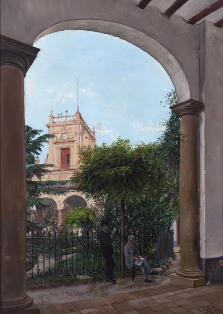 Patio del museo. Félix Lafuente. Óleo sobre lienzo. 1896. NIG. 02507. © Foto Fernando Alvira. Museo de Huesca.