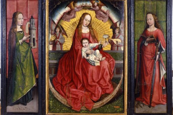 Virgen de la Rosa. Tríptico de Santa Catalina, Virgen con el Niño, Santa Bárbara. Robert Campin Maestro de Flémalle. Óleo sobre tabla. 1450 -1500 NIG.00052. © Foto Fernando Alvira. Museo de Huesca.