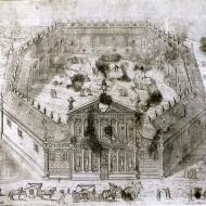 Escenografía de la Universidad de Huesca. Francisco de Artiga. Grabado. Hacia 1690. NIG. 01982. © Foto Fernando Alvira. Museo de Huesca.
