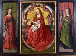 Tríptico de Santa Catalina, Virgen con el Niño, Santa Bárbara