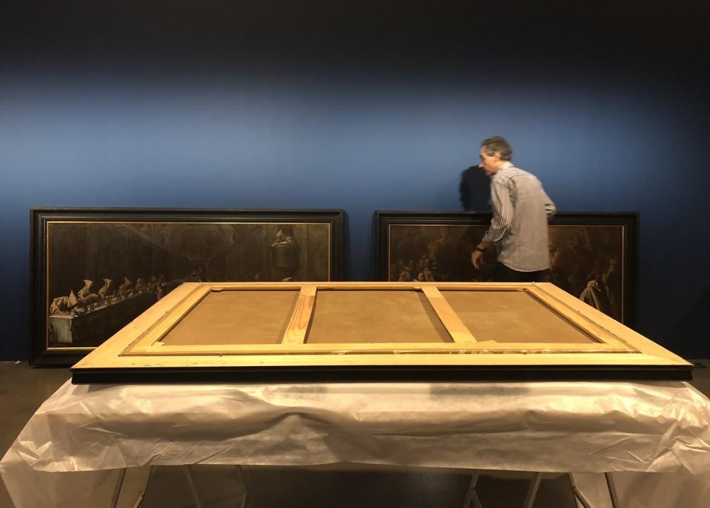 Montaje exposición bayeu. Foto: Museo de Huesca