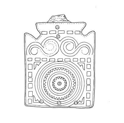 Dibujo placa de cinturón de bronce. Autores: N. Juste y F. Manero. Necrópolis Avda. Martínez de Velasco (Huesca). NIG 07785. Museo de Huesca.