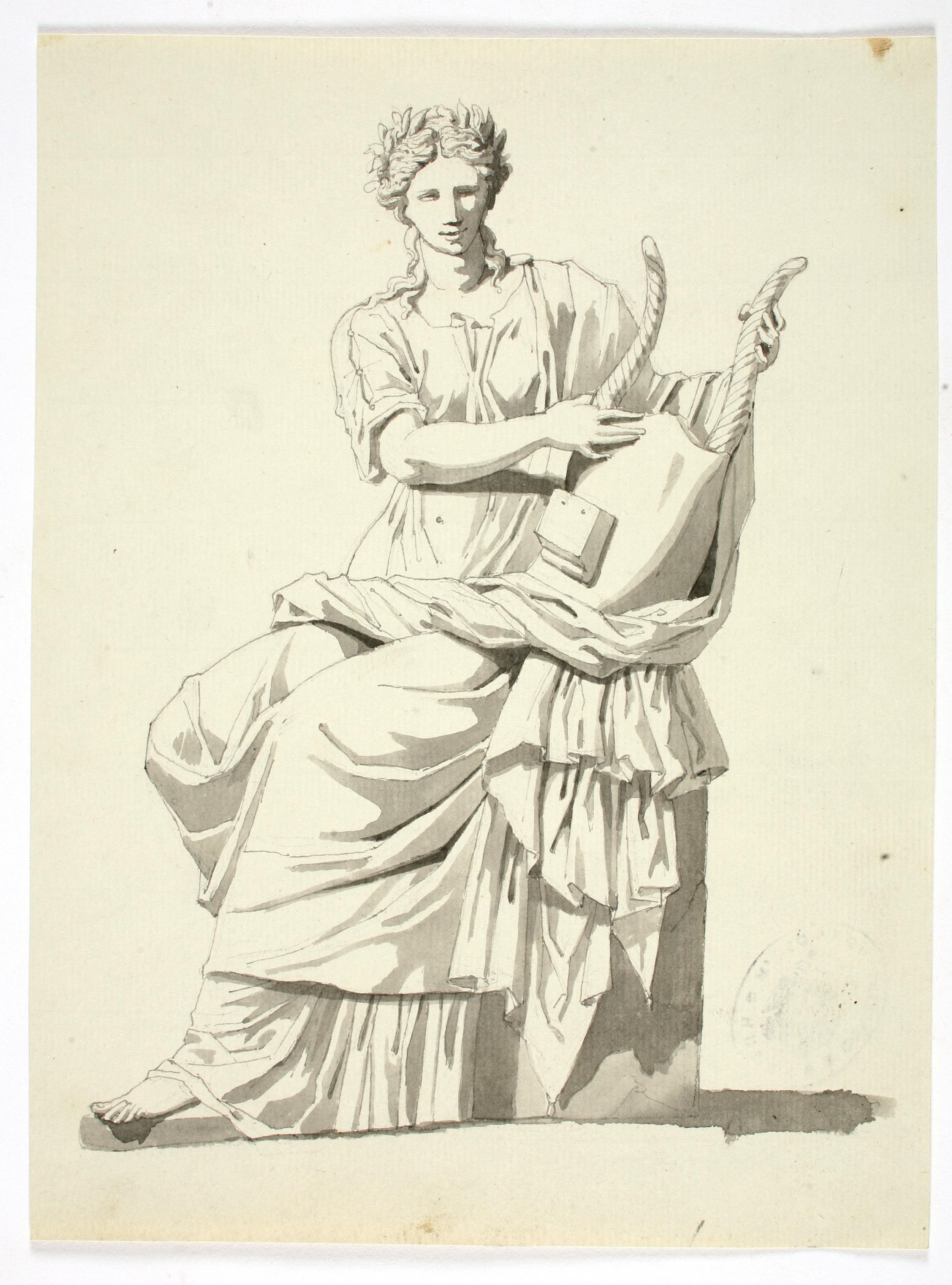 Terpsícore. Valentín Carderera y Solano, ca. 1822-1831. Aguada sobre papel. NIG 01832. Museo de Huesca. Foto Fernando Alvira