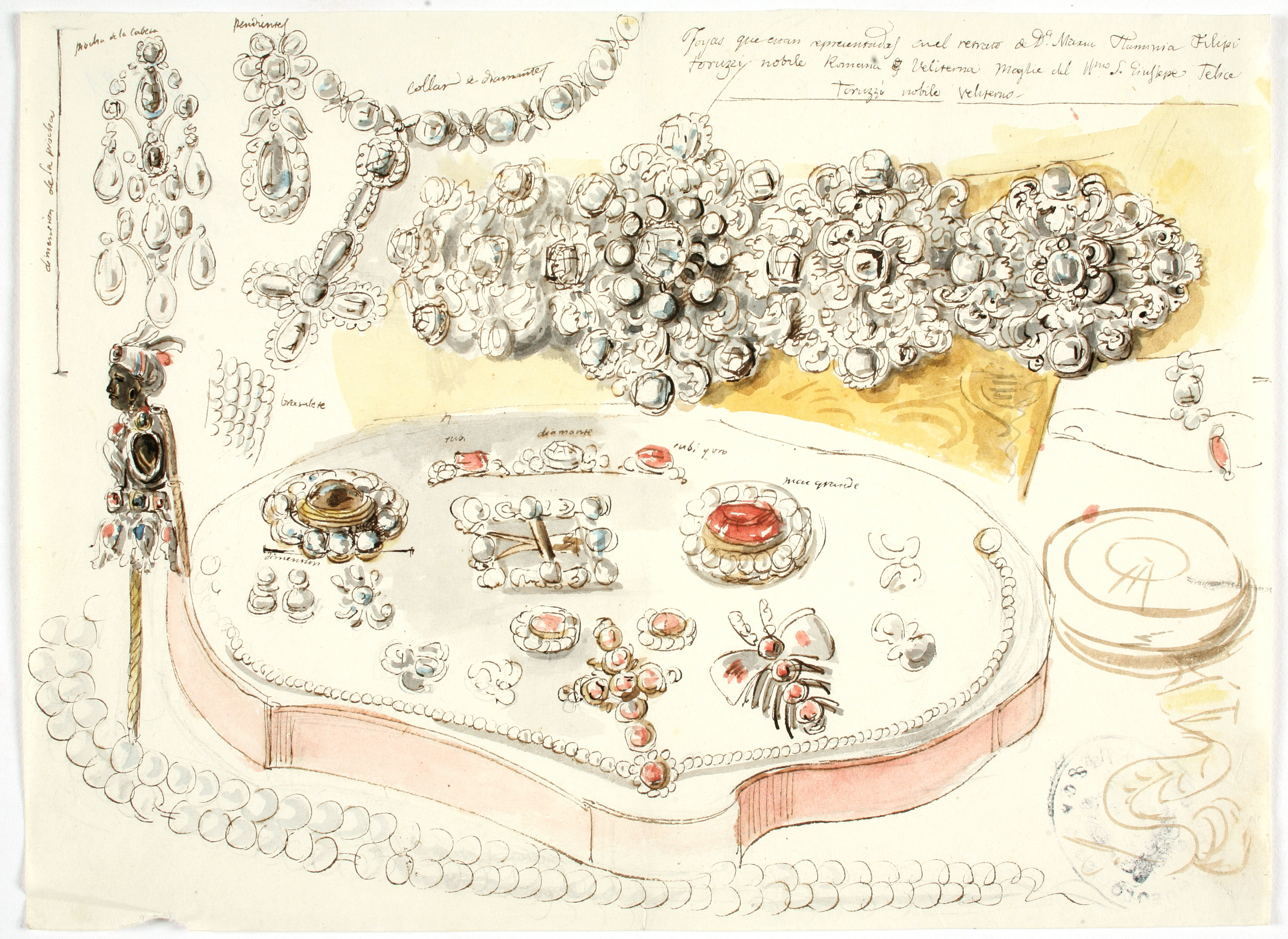 Grand parure de noble romana. Valentín Carderera y Solano. Acuarela sobre papel. NIG 01927. Museo de Huesca.