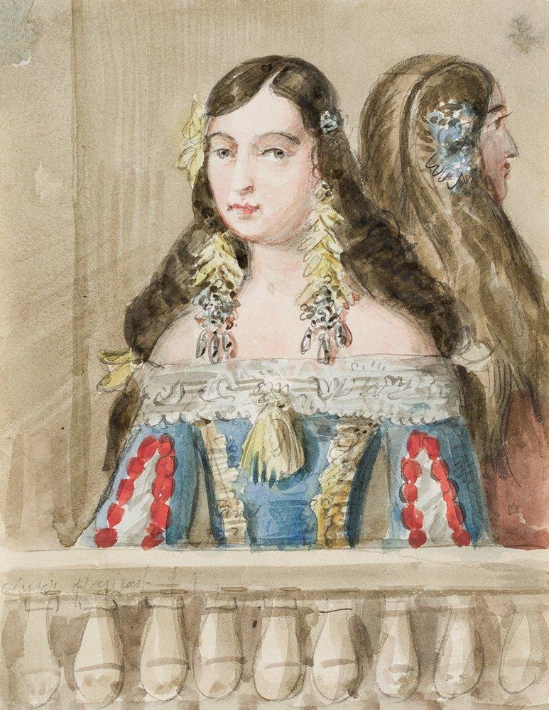 Retrato de una dama. Valentín Carderera y Solano, ca. 1822-1850. Acuarela sobre papel. NIG 13117. Museo de Huesca.